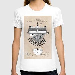 patent art type writing machine T-shirt