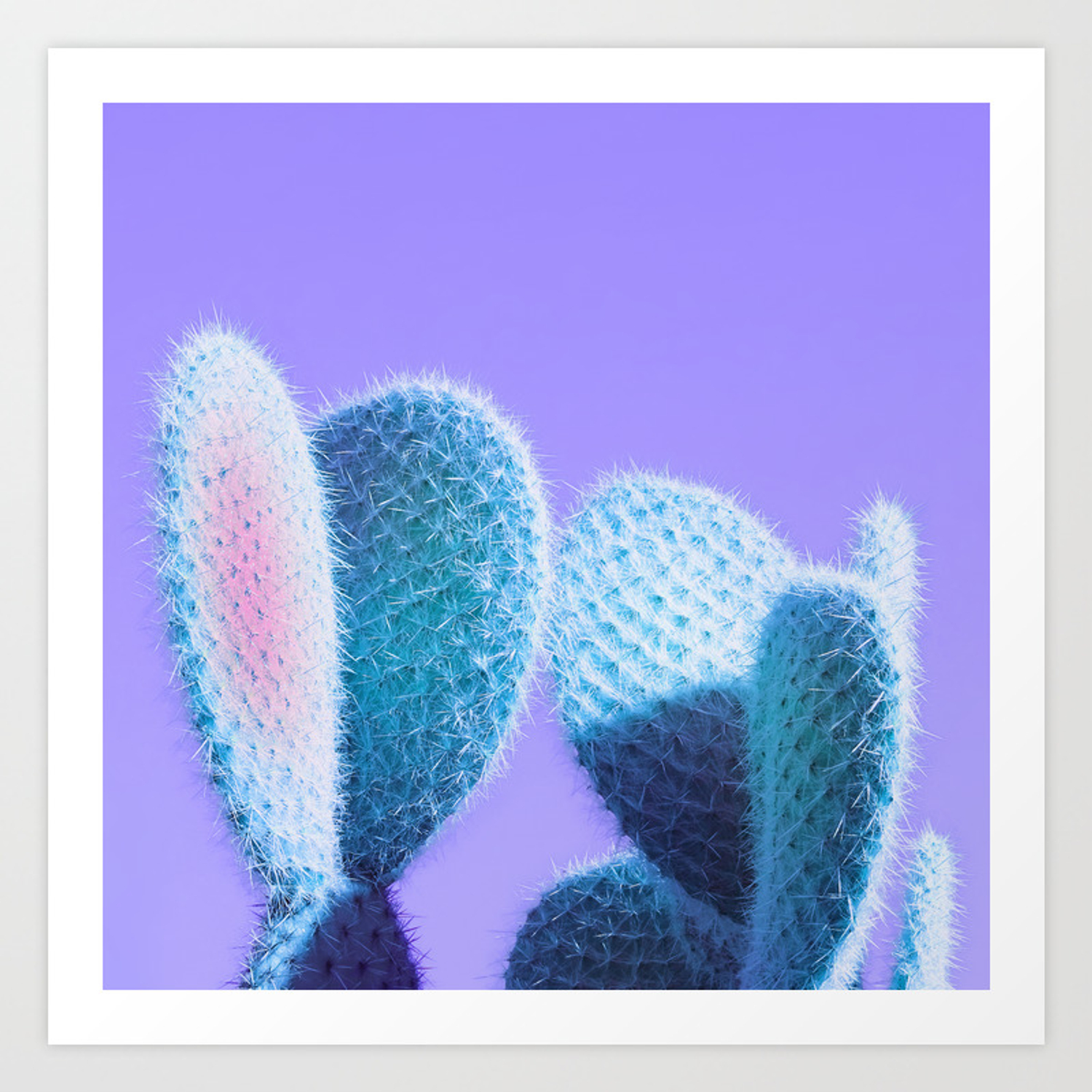 Cactus Love Ultra Violet And Aqua Blue Love Homedecor Art Print By Dominiquevari Society6