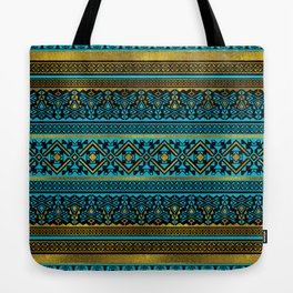Mexican Style pattern - black, teal and gold Tote Bag