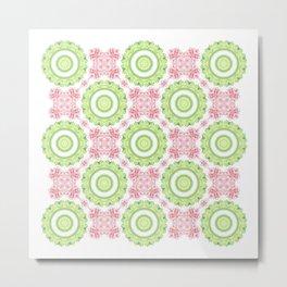 Floral Pattern - Lime Green & Pink Metal Print