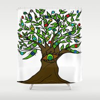 murakami Shower Curtains featuring Tree of Eyes by Marcy Murakami