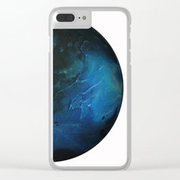 Blue Planet on White Background Clear iPhone Case