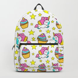 Cute colorful magical baby unicorns and sweet yummy cupcakes and bright golden stars cartoon white pattern design. Nursery decor ideas. Funny gifts for unicorn lovers. Backpack