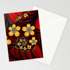 Yellow Fantasy Flowers On Red And Black Stationery Cards
