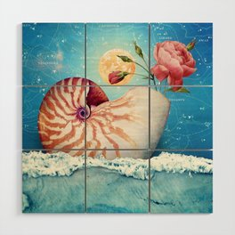 Fancy Nautilus Shell :: Fine Art Collage Wood Wall Art
