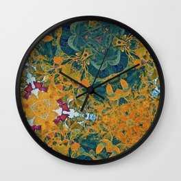 Orange and Green Flora Wall Clock