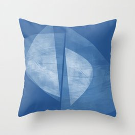 Mid Century Modern Blue and White Geometric Square Format Abstract Throw Pillow