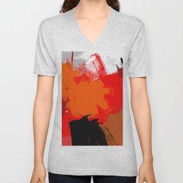Abstract painting Hot orange F05 Unisex V-Neck