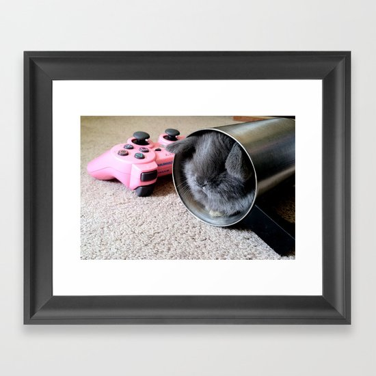 Gamer Bunny Framed Art Print