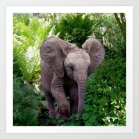 baby elephant Art Prints featuring Baby Elephant by Erika Kaisersot
