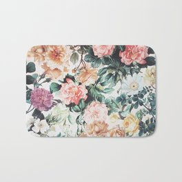 Vintage green pink yellow watercolor roses floral Bath Mat