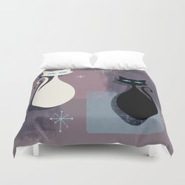 Jazzy Midcentury Modern Black And White Abstract Cats Duvet Cover