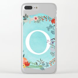 Personalized Monogram Initial Letter O Blue Watercolor Flower Wreath Artwork Clear iPhone Case