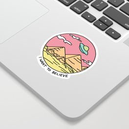 Ancient Aliens Pyramids Funny UFO Eyptian 90s Print Sticker