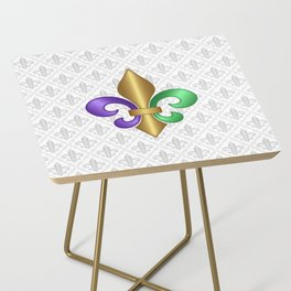 Purple Green and Gold Fleur-de-Lis on Gray Pattern Side Table