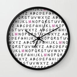 Handwritten Alphabet with Pink M Wall Clock