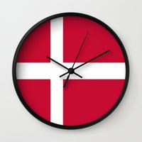 denmark Wall Clocks featuring Flag of Denmark by Neville Hawkins