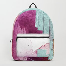 Desert Daydreams [3]: a colorful abstract mixed media piece in purple blue pinks and orange Backpack