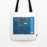labyrinth Tote Bags featuring Labyrinth by Stoian Hitrov - Sto