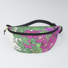 Swirling vines of Clematis in shades of pink and green Fanny Pack