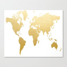 Gold Map Print Canvas Print