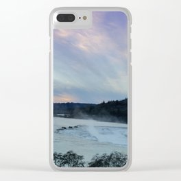 A CHILLY WINTER WILLAMETTE FALLS SUNSET Clear iPhone Case