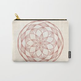 Mandala Bud Rose Gold on Cream Carry-All Pouch