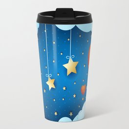 Surreal night with crescent and ballons Travel Mug
