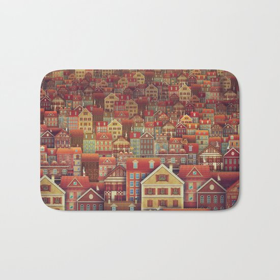 Cute City Street Scene ,Many Houses Bath Mat