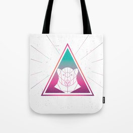 Colorful Grizzly Bear Geometrical Triangle Retro Style design Tote Bag