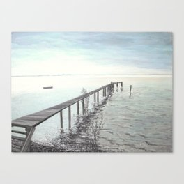 Bootssteg am Ammersee in Bayern - Ölbild Canvas Print