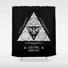 Legend of Zelda Kingdom of Hyrule Crest Letterpress Vector Art Shower Curtain