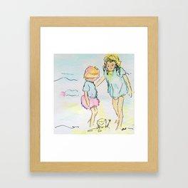 Sister Sandcastles Framed Art Print