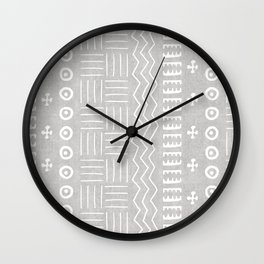 Funky African Mud Cloth in Grey Wall Clock