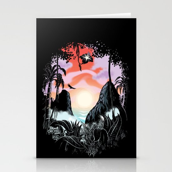 Black orchid Stationery Cards