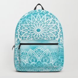 Blue Sky Mandala in Turquoise Blue and White Backpack