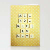 all you need is love Stationery Cards featuring All You Need is Love by happeemonkee