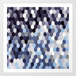 Honeycomb Pattern In Blue Tones Art Print