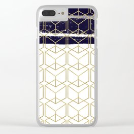 Blue & Gold Hexagon Clear iPhone Case