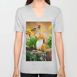Squirrel Among the Marigolds Unisex V-Neck