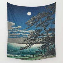 Spring Moon at Ninomiya Beach nautical maritime beach landscape coastal painting by Kawase Hasui Wall Tapestry