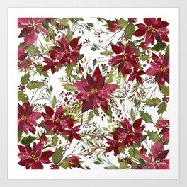 Poinsettia Flowers Art Print