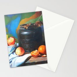 Still life with fruits and flag Stationery Cards