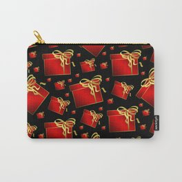 many small red gifts with golden bow on white Carry-All Pouch