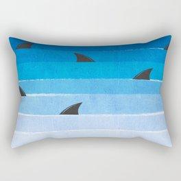 Sharks - shark week trendy black and white minimal kids pattern print ombre blue ocean surfing  Rectangular Pillow