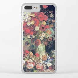 Vincent Van Gogh - Vase with Poppies, Cornflowers, Peonies and Chrysanthemums, 1886 Clear iPhone Case