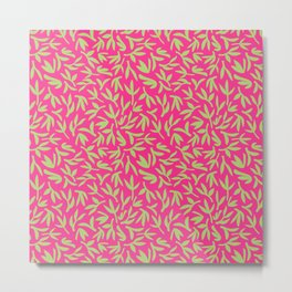 Pink and Green Bamboo Leaves Metal Print