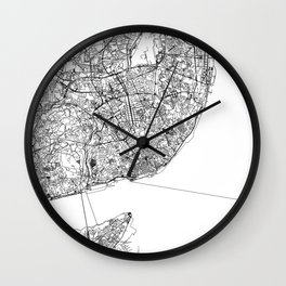 Lisbon City Map Portugal White and Black Wall Clock