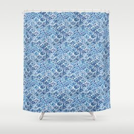 FATHOMS DEEP Indigo Watercolor Fish Scale Shower Curtain