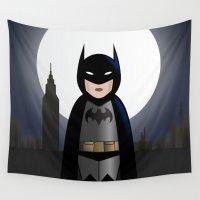 bat Wall Tapestries featuring Bat-kokeshi by Pendientera